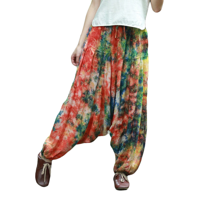 Hisenky Women Casual Pants Female Trousers Baggy Boho Harem Pants Wide Leg Bloomers Smocked Casual Pants Leisure Wear