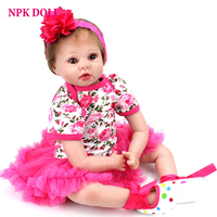 22 inches Alive Baby Dolls Real Silicone Vinly Bebe Doll Reborn Childtrn Bedtime Toy Educational Toys Birthday Gift for Girls
