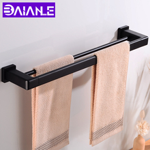 Towel Bar Double Aluminum Bathroom Holder Black Wall Mounted Rack Hanging Square Clothes Robe Rail Hanger
