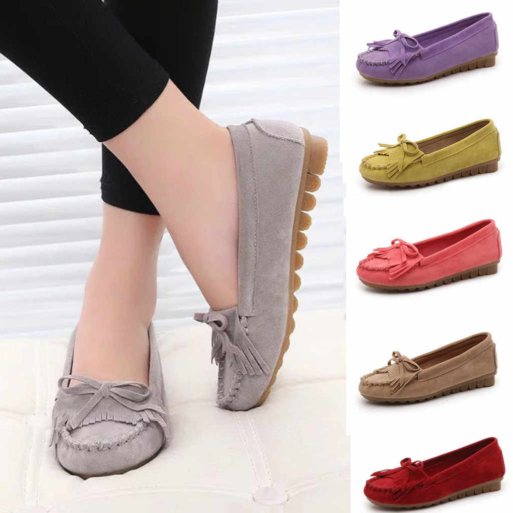 Women's Flat Bottom Elegant Wild Casual Single Shoes Bow Fringe Peas Shoes  women sandals flat casual summer shoes women