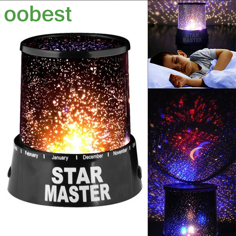 oobest Room Novelty Night Light Projector Lamp Rotary Flashing Starry Star Moon Sky Star Projector Kids Children Baby Care Lamp night light projector lamp rotary