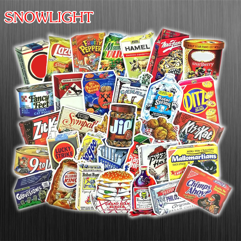 75Pcs/Set Retro Fast Food & Drink Realistic Graffiti Stickers For Skateboards Guitars Refrigerators Notebook Laptop TOY Stickers