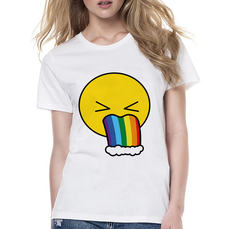 Rainbow Puke Emoji summer T-shirt female kawaii white print short girl t shirt women harajuku style tshirt Wyy515