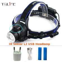 IR Sensor Headlight Induction Micro USB Rechargeable Lantern LED CREE XM-L2 T6 Headlamp Lumen Head Lamp Light Torch For 18650