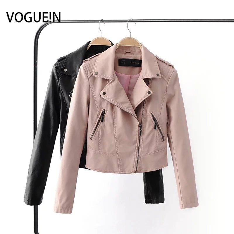 VOGUE!N New Womens Soft Faux   Leather   Slim Motorcycle Zipper Jacket Lapel Short Coat Outerwear Black/Pink 2 Colors