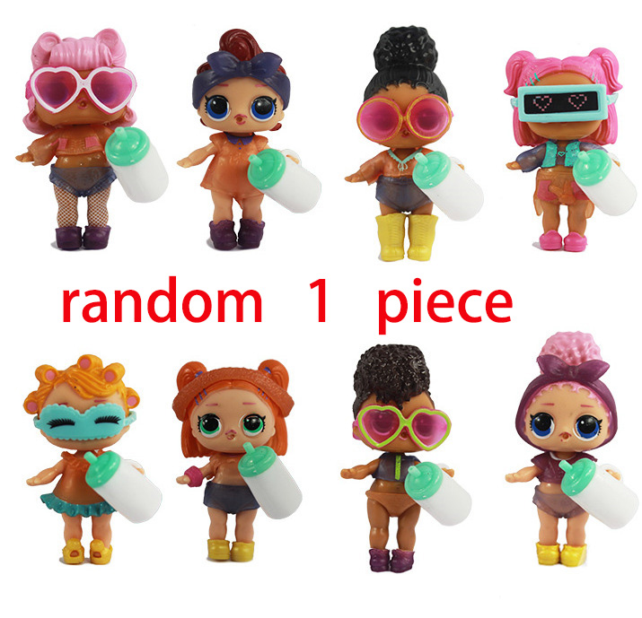 Random 1pcs 9cm LOL Dolls Boneca Little Toys Dress Drink Water Glitter Baby Doll Anime Brinquedos Figure Toys For Kids Gifts