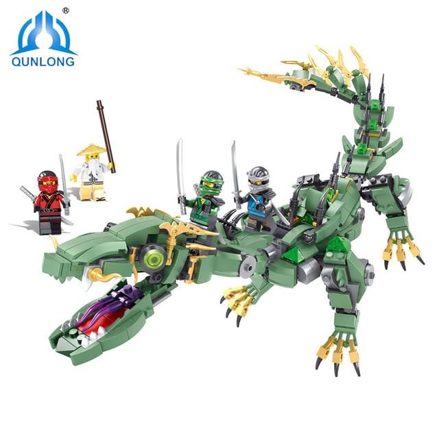 Conjunto de Blocos de Construção Ninjago Ninja Verde Qunlong Mech Dragão Wu Lloyd Garmadon Charlie Tijolos Brinquedos Compatível Com Filme Legoe