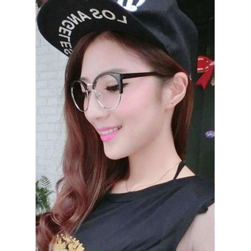 New Style Anti-Radiation Goggles Plain Glass Spectacles Fashion Women Metal+Plastic Semi Circle Frame Glasses