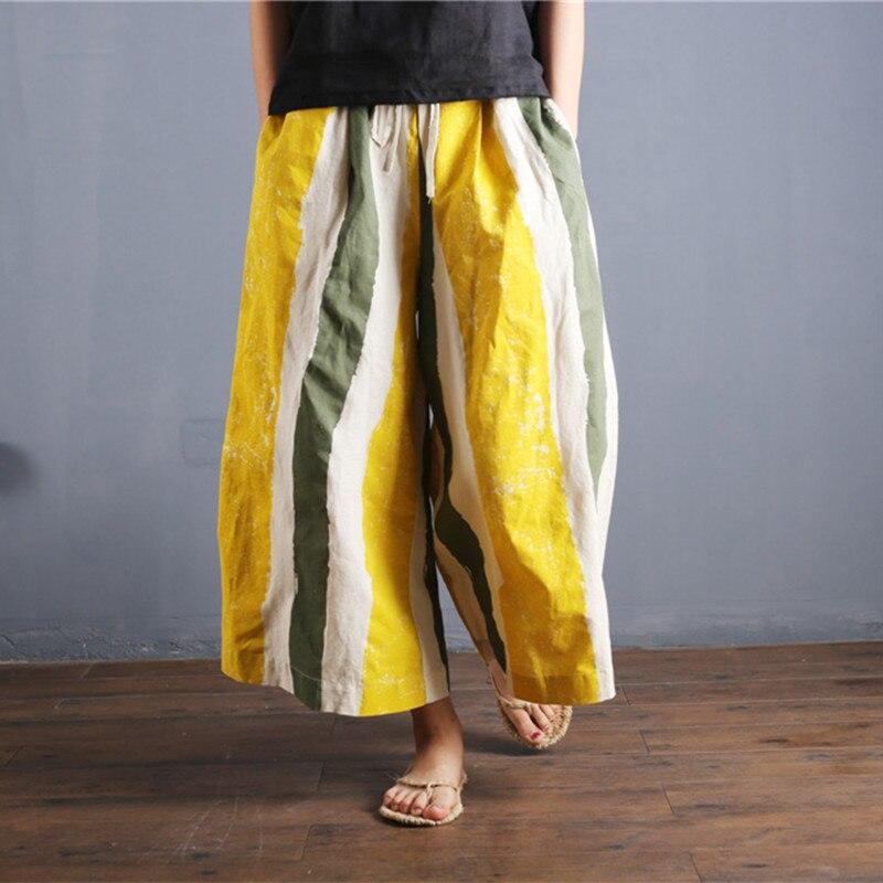 Women Summer   Wide     Leg     Pants   Cotton Linen Casual Ladies Loose Full length   Pants   Women Vintage Patchwork Striped Print Trousers