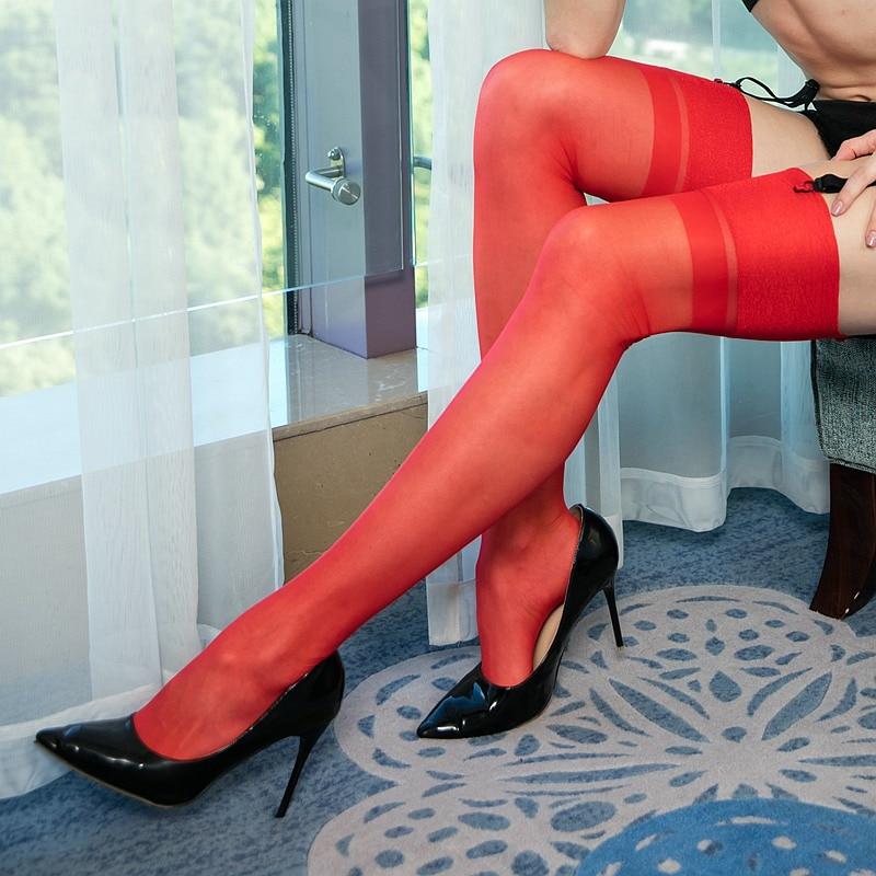 15D Seamed Womens Back Striped Stockings,transparent Silk Knee High Socks ,long Socks Women