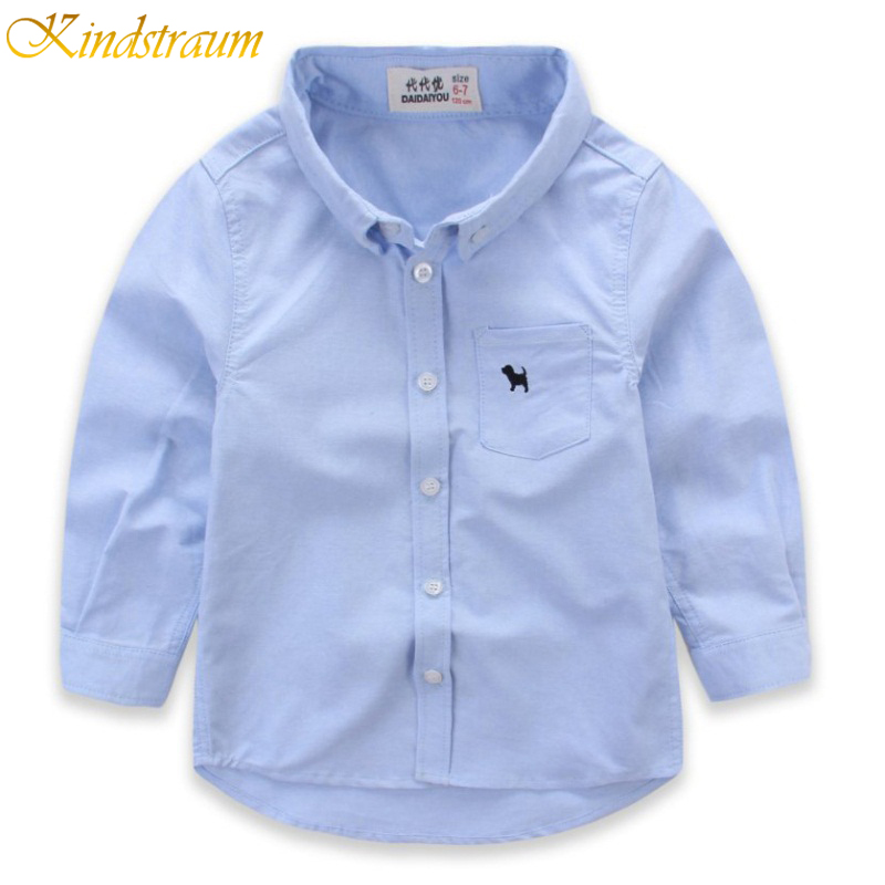 Kindstraum 2018 New Boys Casual Shirt Kids Cotton Solid Shirt Long Sleeve Children Brand Spring Autumn Shirts Clothing, NC024 business casual men long sleeve shirt spring autumn silm fit cotton stitching solid color oxford textile