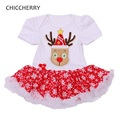 Red Nose Reindeer Rudolf Baby Girl Christmas Dress Toddler Lace Tutu Vestido Infantil Menina Christmas Costumes for Kids Clothes
