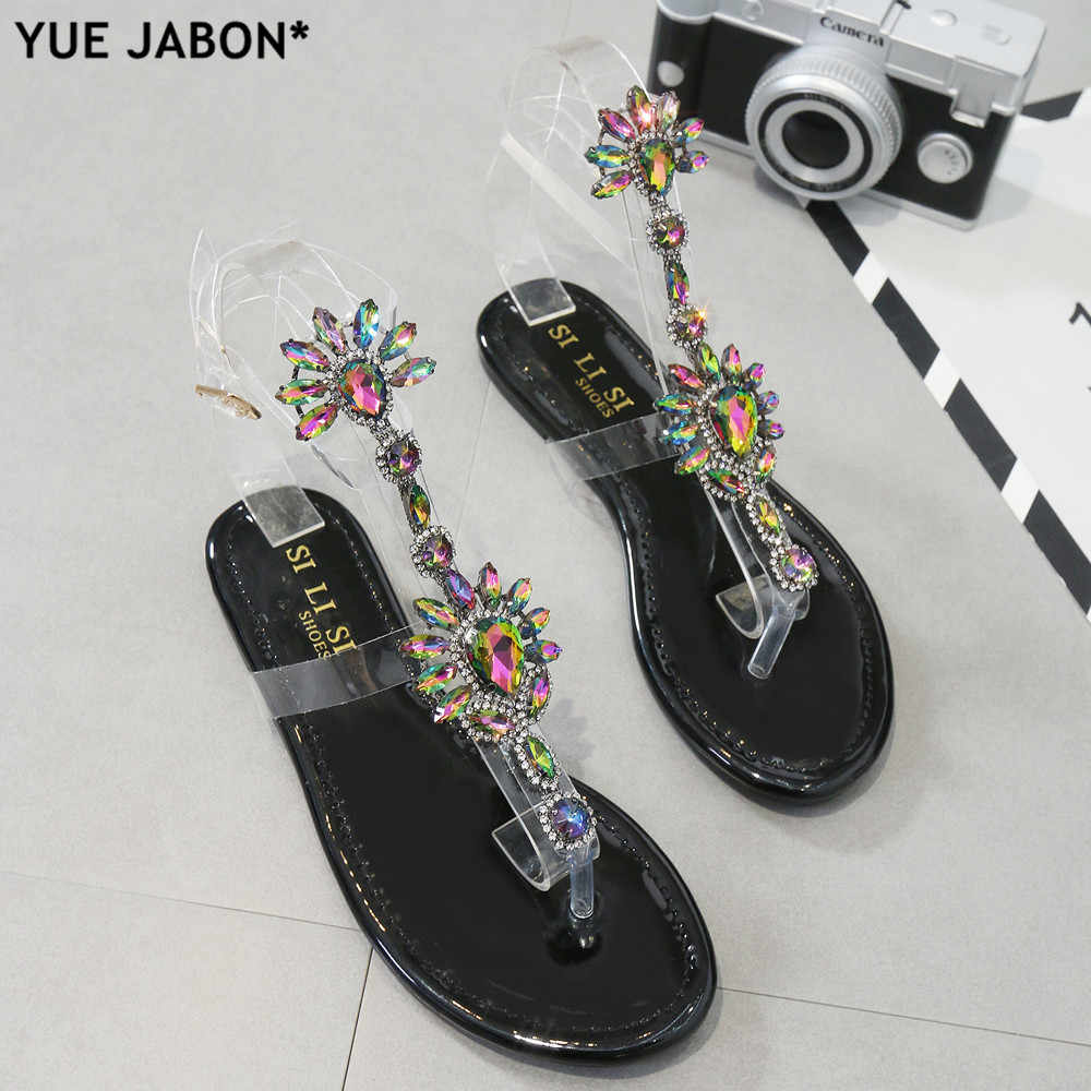 15687fa9f033e9 Bling bling women Rhinestones embellished Chains Flat Sandals T-strap Thong Crystal  Flip Flops sandals