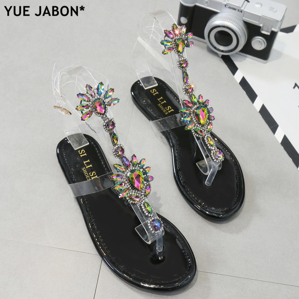2d6e647d65468f Detail Feedback Questions about Bling bling women Rhinestones embellished Chains  Flat Sandals T strap Thong Crystal Flip Flops sandals gladiator sandals eur  ...