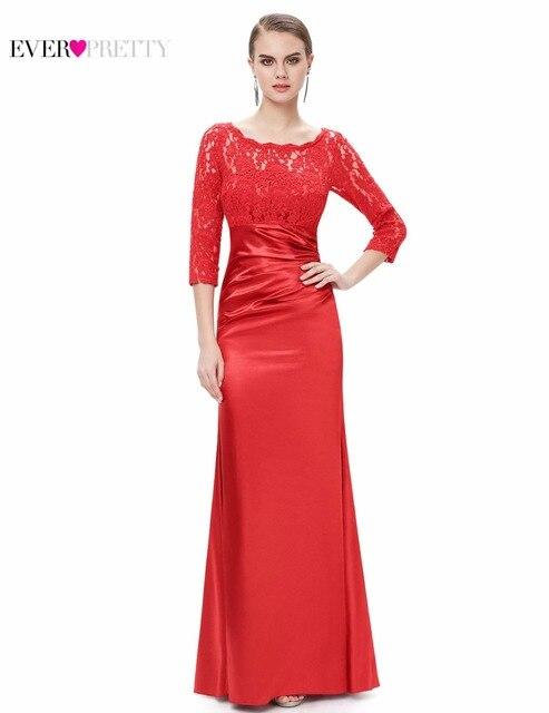 [Распродажа] Ever Pretty женское элегантное вечернее платье кружевное ТРАПЕЦИЕВИДНОЕ ПЛАТЬЕ три четверти с круглым вырезом Красное длинное вечернее платье
