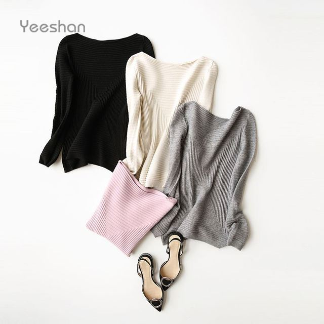 Yeeshan Cashmere Long Sleeve Sweater Women Wool Solid Women Sweaters and Pullovers Pink Knitting Women's Sweater Luxury Brand