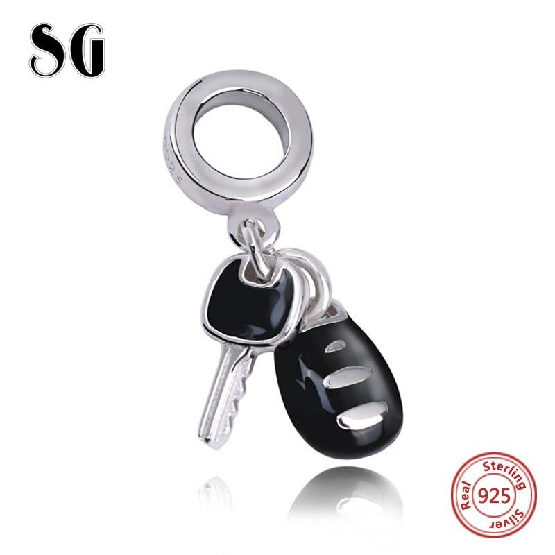 SG 925 Sterling Silver vintage Beads diy craft black enamel key Charms Fit authentic pandora Bracelet Jewelry making women Gift