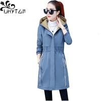 UHYTGF Casual women autumn jacket Plus velvet Thicken Hooded warm winter outerwear Zippered slim elegant windbreaker jacket 1112
