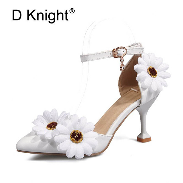 77fd813773f Wome Sandals Wedding Shoes White Pink Flower Wristband Bridal Shoes Pointed  Toe Strange Style Heel Satin