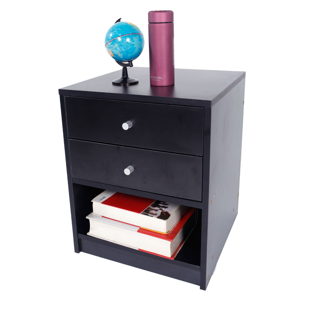 Night Stand Black with 2 Drawers Dropshipping