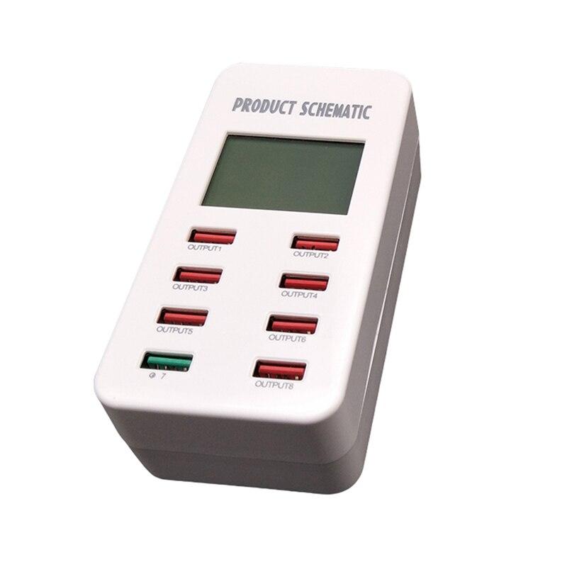 Мульти порт USB быстрое Зарядное устройство умный дисплей 8 портовый Универсальный слот расширения телефона Зарядное устройство USB hub разветвитель Питание