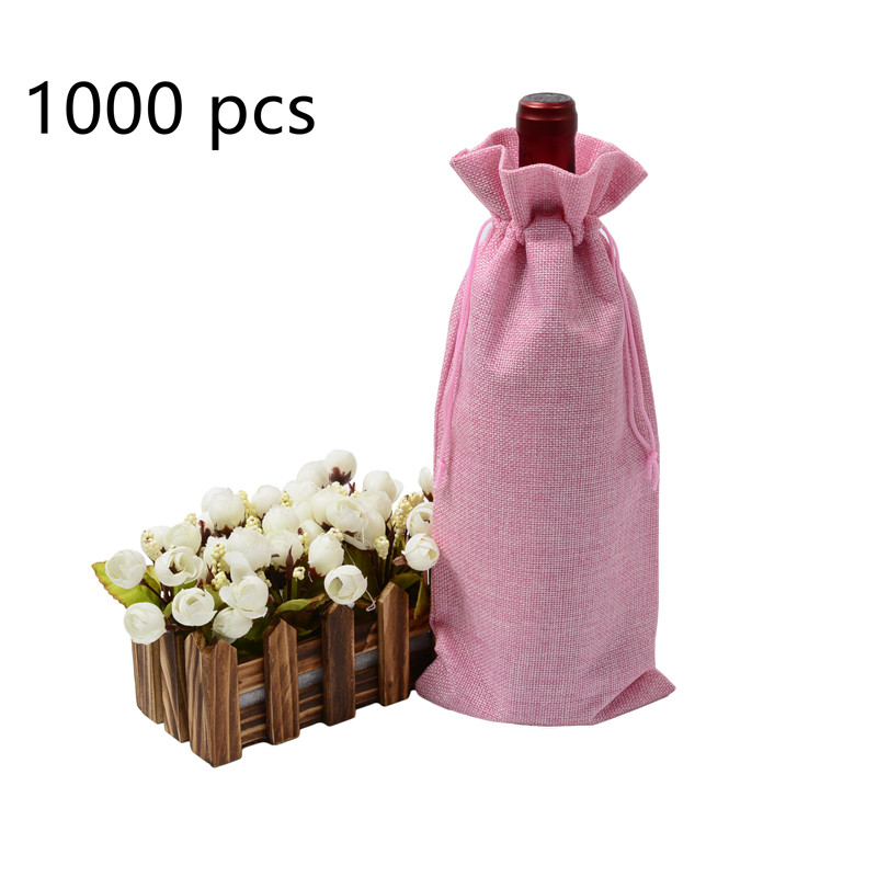 1000pcs Multi-color Optional  Durable Fast Shipping Jute Wine Bags Natural Jute Wine Bags Drawstring Wine Bottle Gift Covers