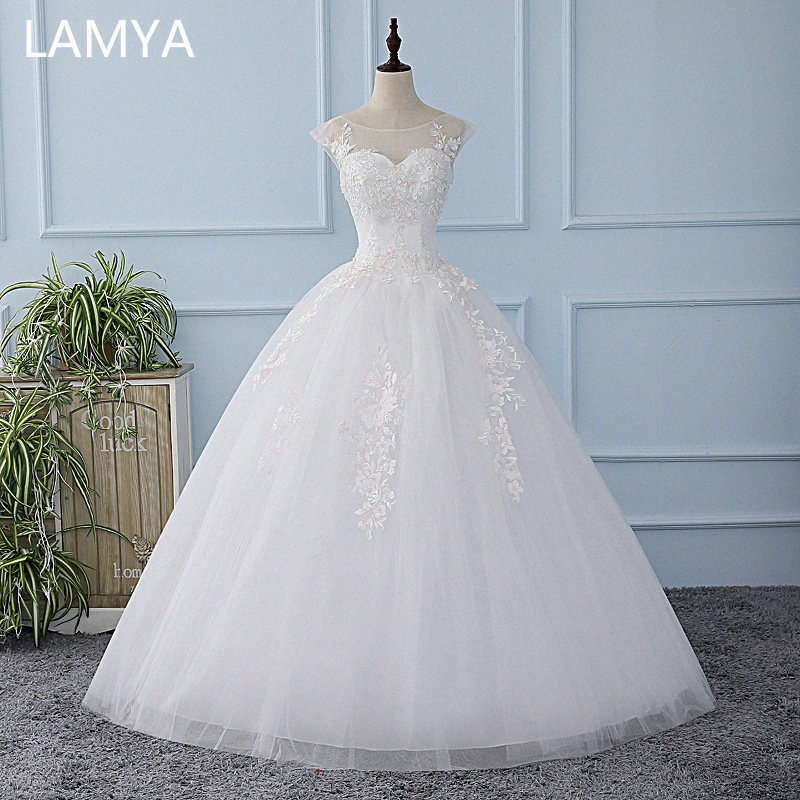 LAMYA 2019 Vintage Lace O-Neck Wedding Dresses Elegant Beautiful Bridal Gowns Women Wed Dress Vintage Vestido De Noiva Princesa