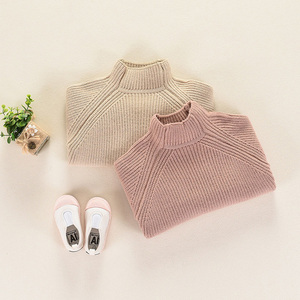 Image 5 - 秋冬子供のセーター厚手のニットプルオーバー上着タートルネック子供の女の子 RT130