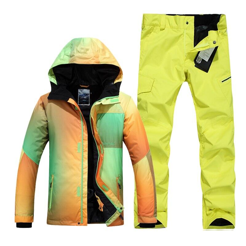 GSOU SNOW men ski suit male snowboarding skiing set waterproof windproof thermal gradient color outdoor skiwear brand gsou snow technology fabrics women ski suit snowboarding ski jacket women skiing jacket suit jaquetas feminina girls ski