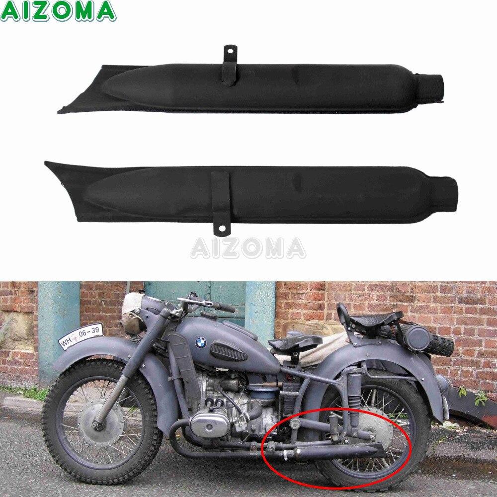 2 pièces moto arrière Type queue de poisson silencieux sans lacet d'échappement silencieux noir pour BMW KS750 K750 M1 M72 R71 R12 Dnepr MT12