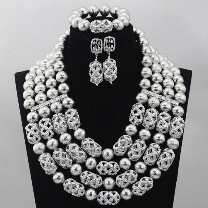 Luxury Silver Grey African Jewelry Set Gray Nigerian Beaded Wedding Bridal Necklace Set Handmade Women Fashion Jewelry Set QW063