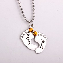 Engraved Baby Feet Pendant Necklace with Birthstones 2016 Long Birthstone Necklaces Custom Made Any Name YP2483 стоимость