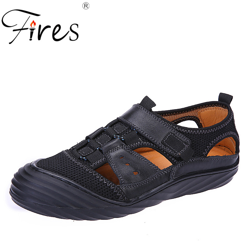 Fires Men Summer Sandals Breathable Light Flat Shoes Hollow Cool Casual Shoes Zapatos Hombre Loafer Mans Outdoor Leisure Shoes