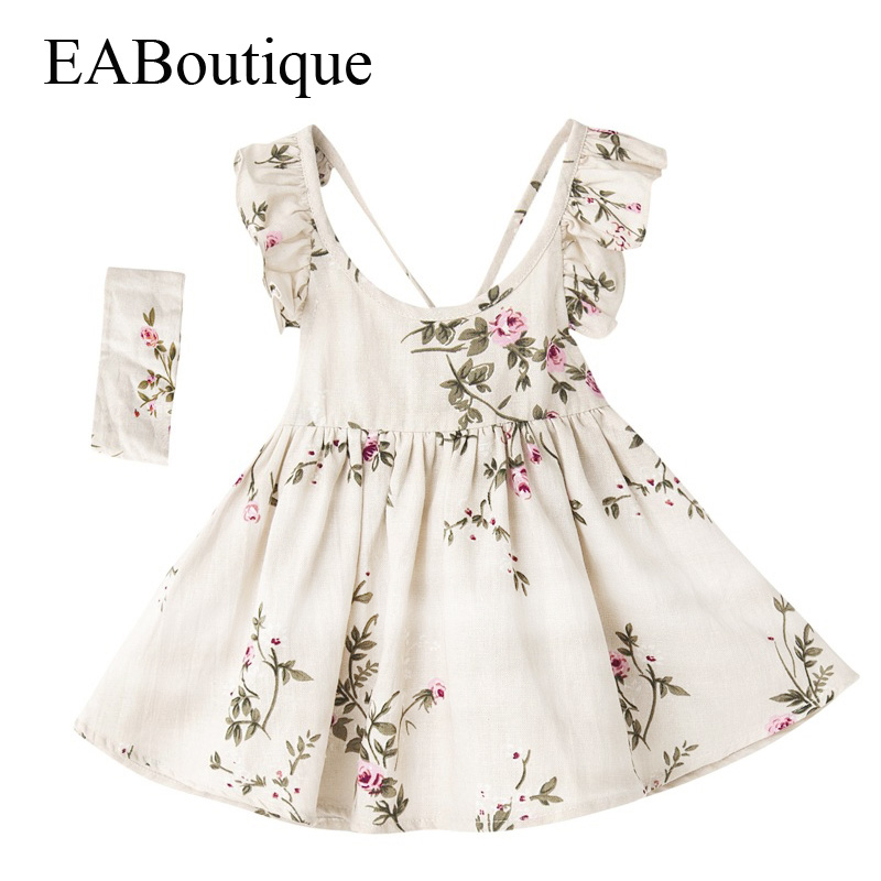 EABoutique New Fashion peach flower printed flying sleeve linen fabric summer dress with headband girl dress fashion letter printed couple new square composite linen blend pillow case