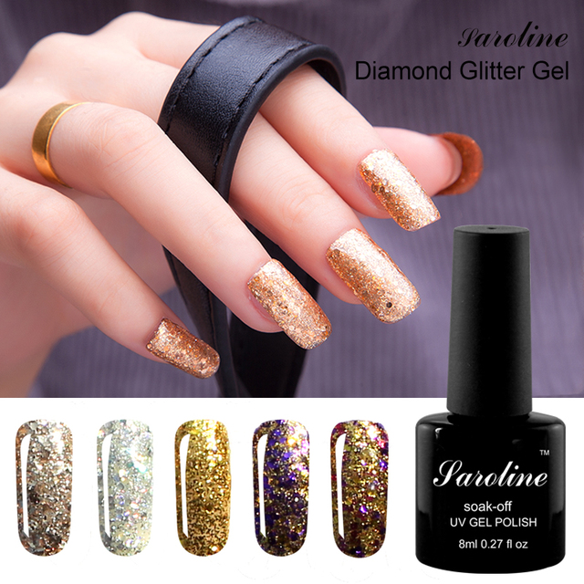 Saroline 3D Diamond Cure Gel Polish Nail Art Gel Varnish soak off ...