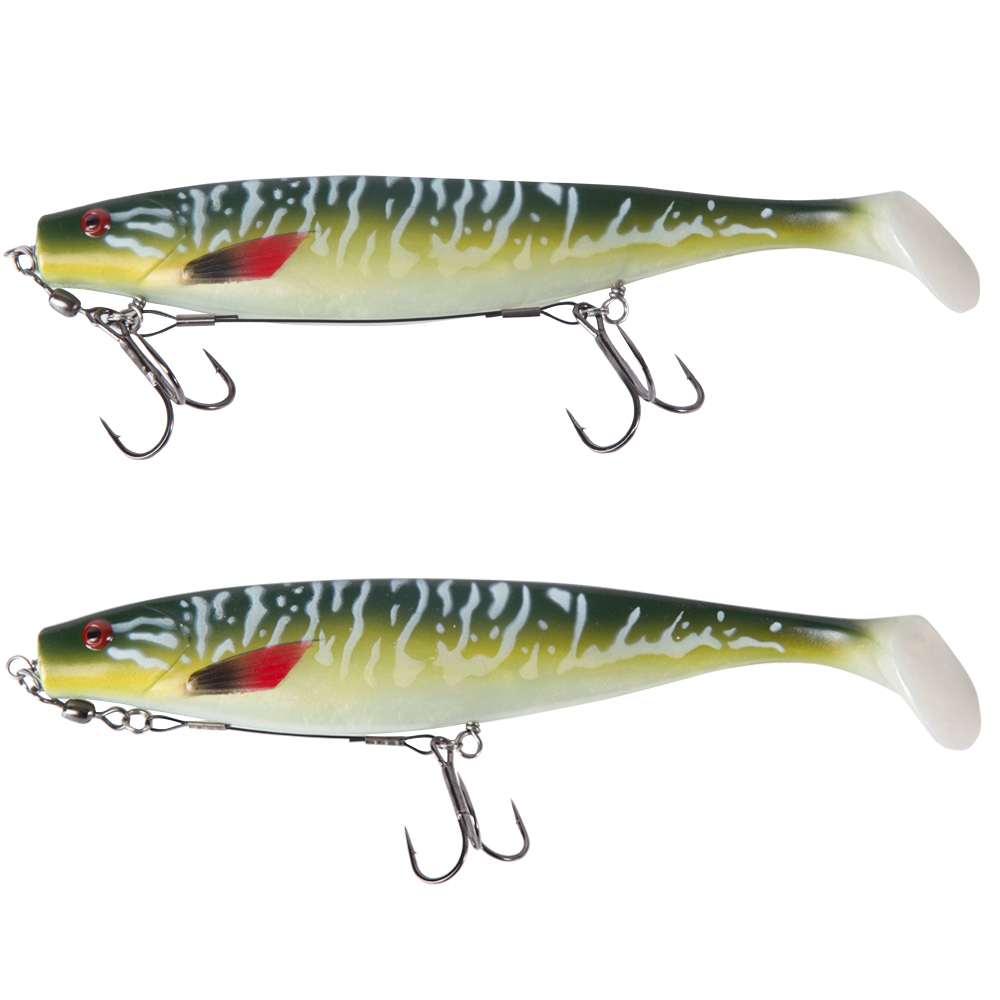 Hunthouse soft pike shad double hook ice fishing tools rig single double hook rigging big fishing tackle pike musky-5