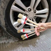 5pcs Car Cleaning Brush Kit Auto Detailing Wheel Wooden Handle Brushes for Cleaning Dash Trim Seats Handy Washable Brush mjjc wooden handle car brushes for interior detailing interior leather brush