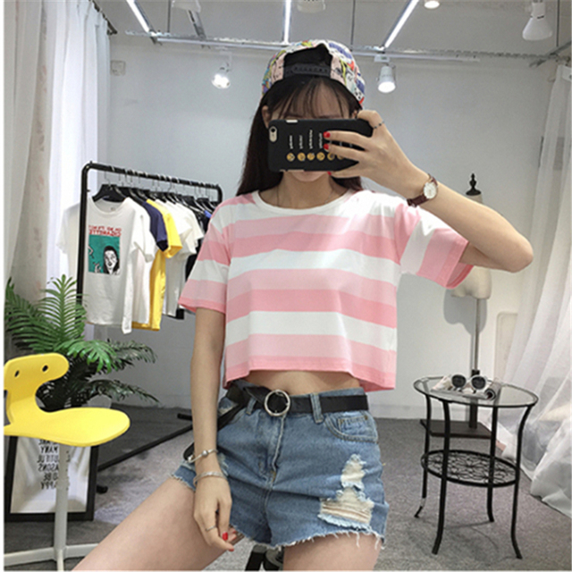 58dd2c817b Korean Harajuku Fashion Pink and White Hit Color Striped T shirts Women  Cute Girls Crop Top