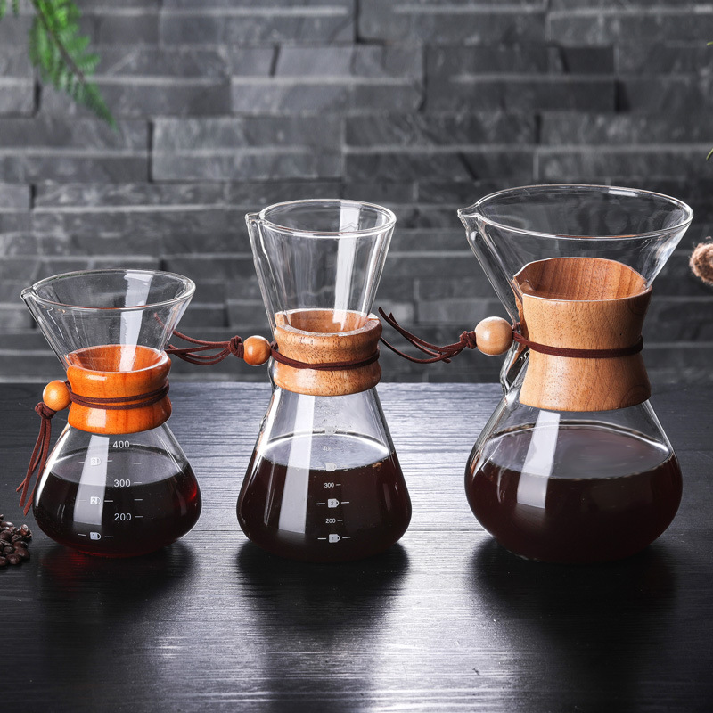 400ml 600ml 800ml Resistant Glass Coffee Maker Coffee Pot Espresso Coffe Machine With Stainless Steel Filter Pot