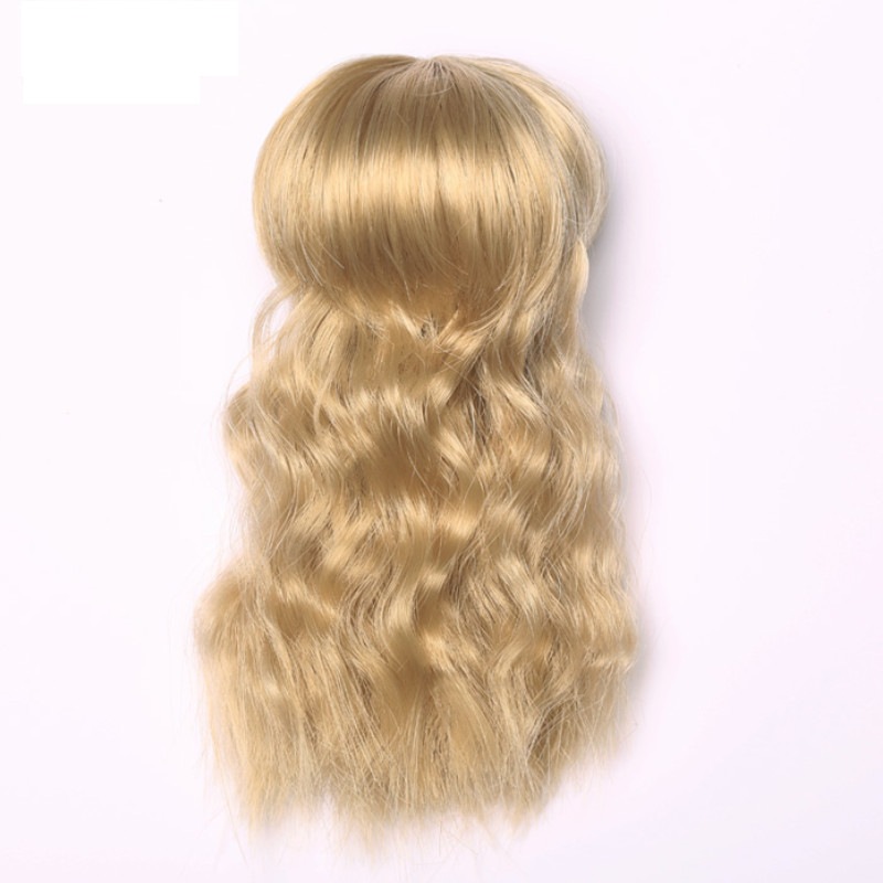 BJD Wig 14cm Cute High Temperature Curly Wavy Natural Short Straight Flat Bangs Bob Dark Brown Girl Hair Party Wig For 1/8 Lati