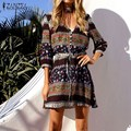 Bohemain Vintage Print Dress 2017 Autumn ZANZEA Women Mini Dresses Sexy Ladies Half Sleeve V Neck Button Elastic Waist Vestidos