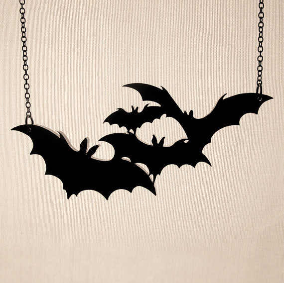 New design fashion punk rock bat necklace for women men unisex personality acrylic black animal bat choker jewelry accessories