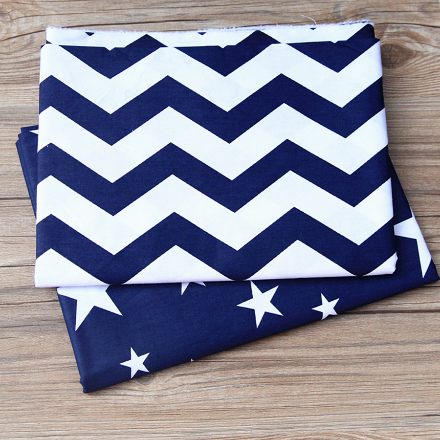 Star Printed Twill Cotton Fabric For Sewing Quilting Blue Tissue Baby Bed Sheets Sleepwear Children Dress Skirt Material50x160cm