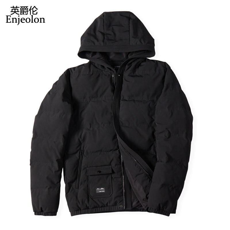Enjeolon Brandwinter algodón acolchado chaqueta con capucha hombres grueso sudaderas Parka abrigo masculino acolchado chaqueta de invierno abrigo 3XL MF0709-in Parkas from Ropa de hombre    3