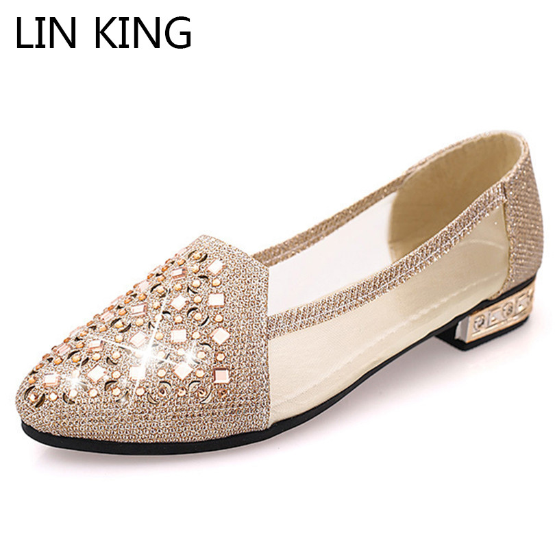 LIN KING Casual Women Flats Shoes Luxury Glitter Rhinestone Single Shoes Pointed Toe Slip On Lazy Office Shoes Female Loafers lin king fashion rhinestone women slippers luxury crystal soft sole summer flats single shoes female outdoor slides big size 42
