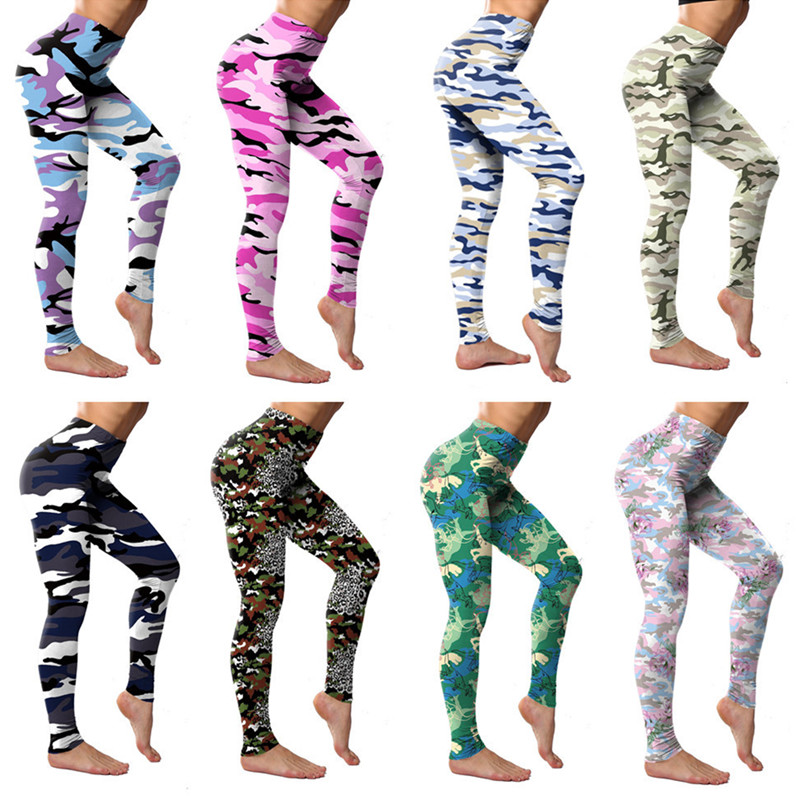 2019 New Camouflage Print Fitness Leggings Women's Push Up Sport Legins Polyester Elastic Slim Pants Plus Size Female Jeggings