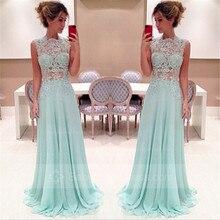 Tidetell Elegante A-Line Stehkragen Ärmellose Lange Abendkleid Appliques Mint Chiffon Promkleider 2016 Vestido De Festa