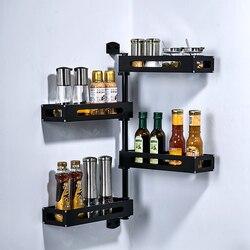 1pc Aluminium Schwarz storage rack Küche Platzsparend Wand Halterung Drehender Klebstoff Spice Ecke Regal Würze Lagerung Rack