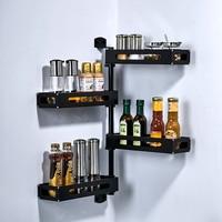 1pc Aluminum Black storage rack Kitchen Space Saving Wall Mount Rotating Adhesive Spice Corner Shelf Condiment Storage Rack