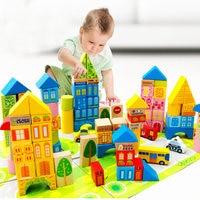 [ Best ] DIY 100pcs City traffic municipal transportation castle Building Blocks Wooden toy ambulance model baby kids gift toys